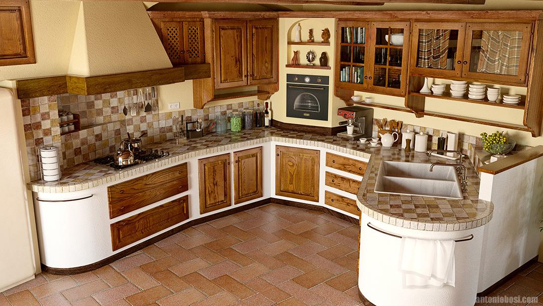 Country Kitchen Interior Render Maya Mental Ray 4