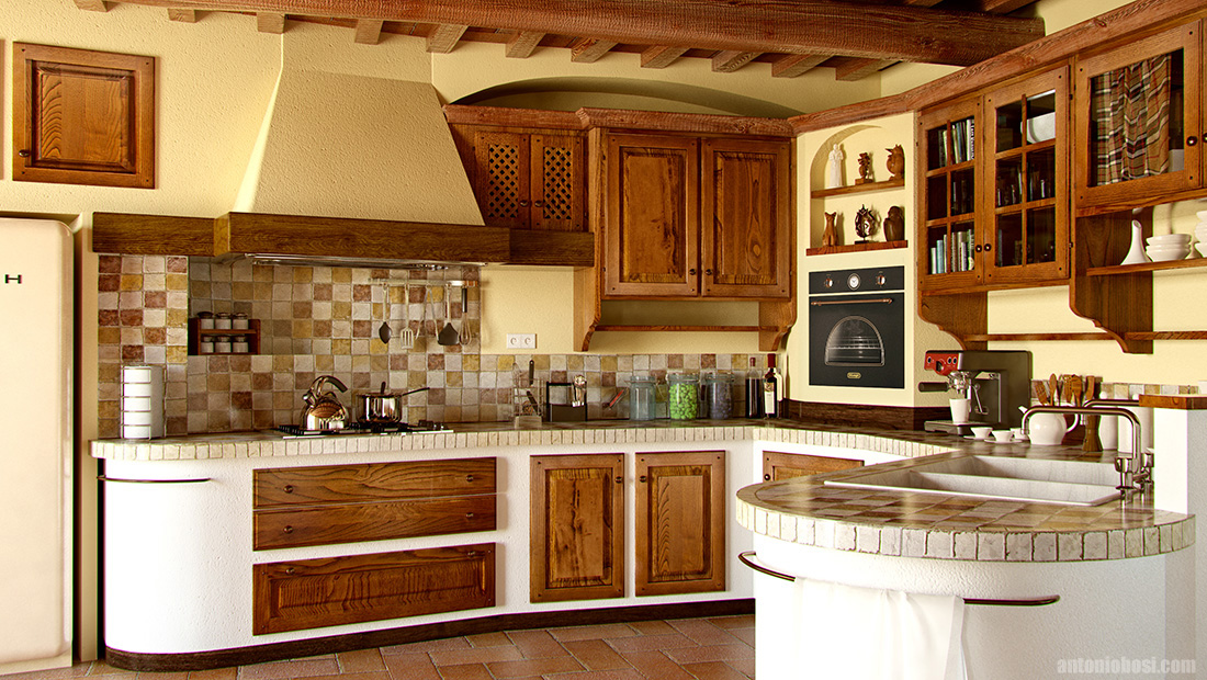 Tuscan Country Kitchen Interior Render In Maya And Mental Ray Antonio Bosi 3d Render Maya