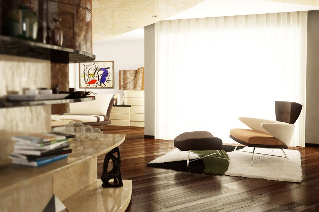 Modern Interior Render In Mental Ray Apartment
