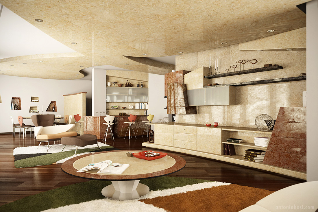Modern interior render in mental ray and maya milan apartment antonio bosi - The modern apartment in the old school ...