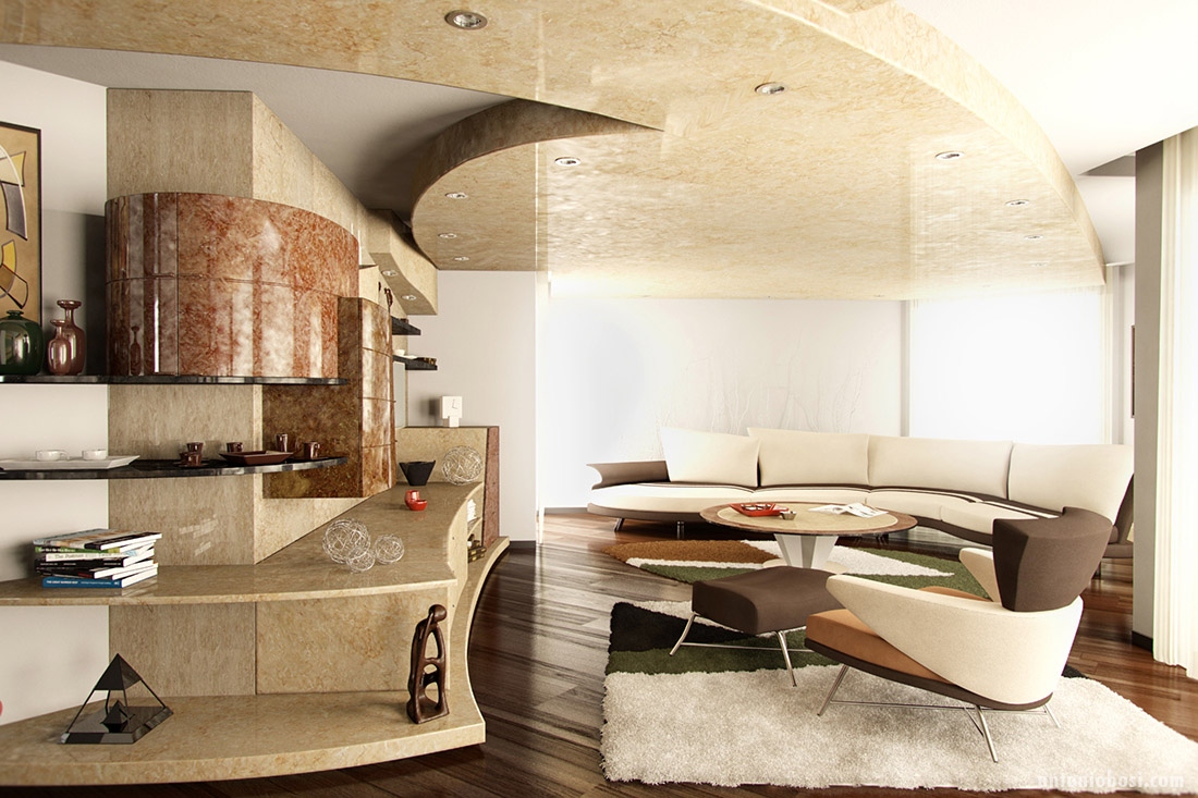 Modern interior render in mental ray and maya milan for Design render milano