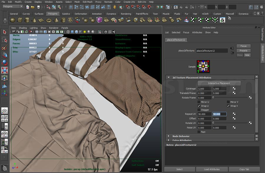 bed texture maya uv scale