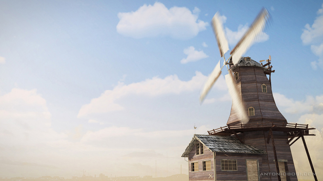 Windmill render 3d in mental ray with maya clouds