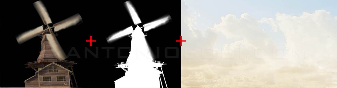 3d windmill render + maya sky compositing