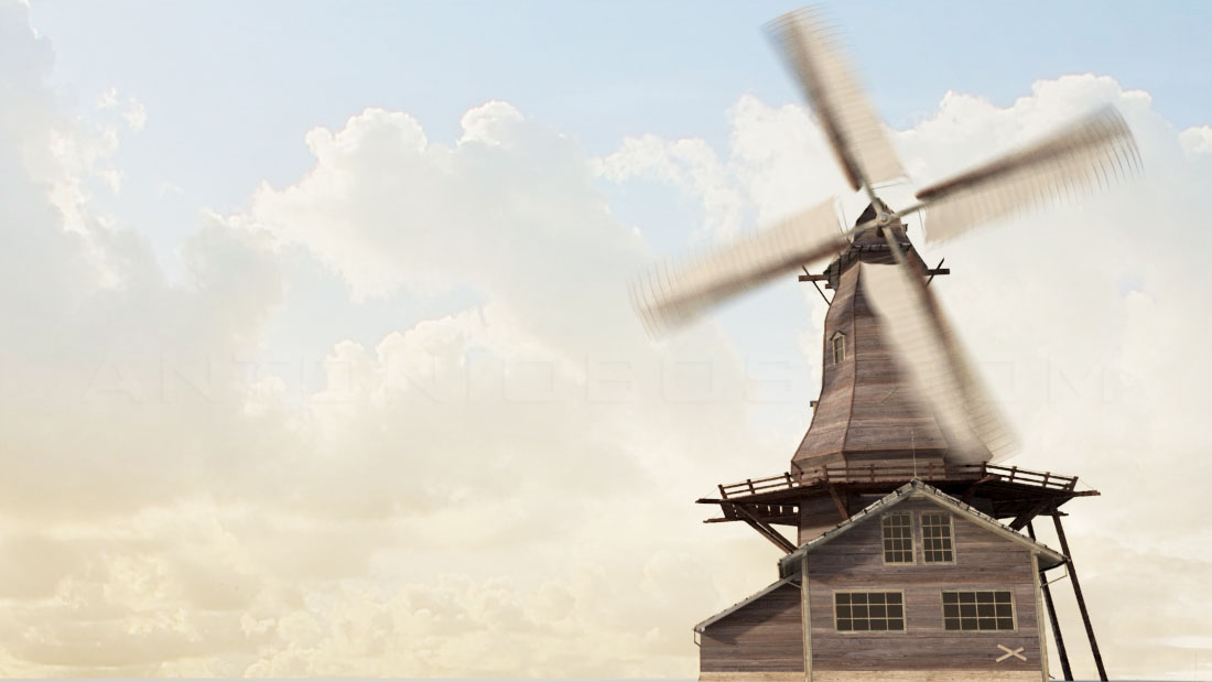 Mental ray sun and Sky with clouds in maya windmill