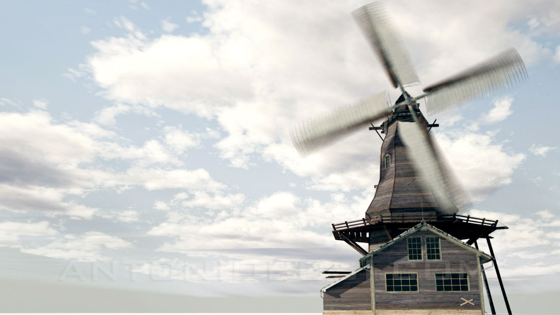 Fluid effects sky in maya and mental ray windmill