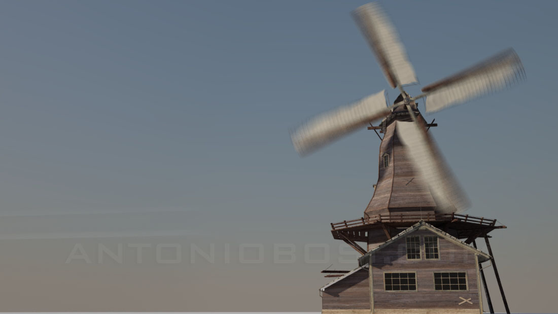 Windmill render in Maya with no clouds