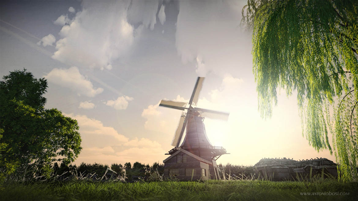 Exterior windmill render tutorial mental ray maya with clouds