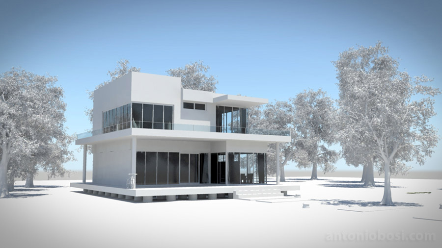 Maya exterior render with mental ray sun and sky enabled
