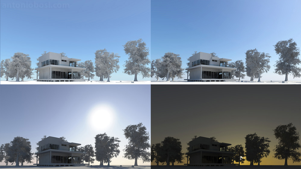 Mental Ray exterior render physical sky and sun time of the day