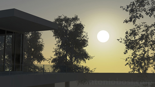 Mental Ray for Maya physical sun disk intensier for exterior render