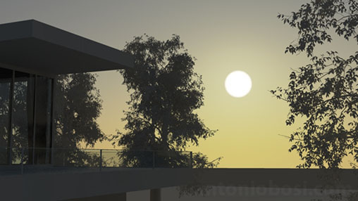 Mental Ray for Maya physical sun disk glow for exterior render