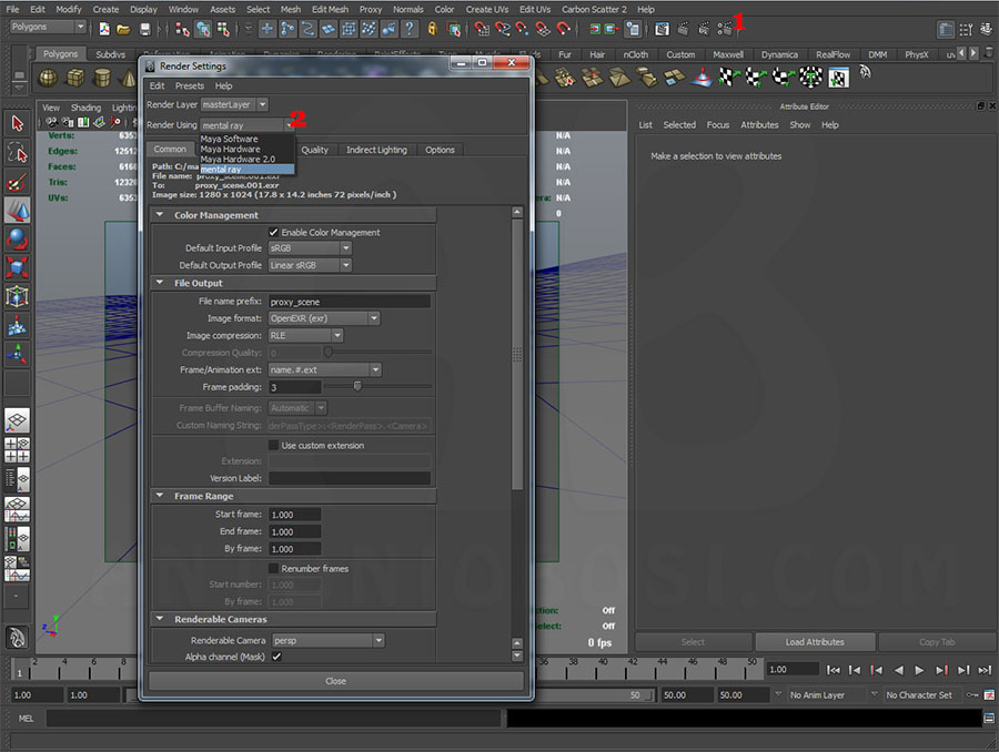 assign mental ray renderer in maya